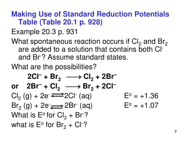 Making Use of Standard Reduction Potentials Table (Table 20.1 p. 928)