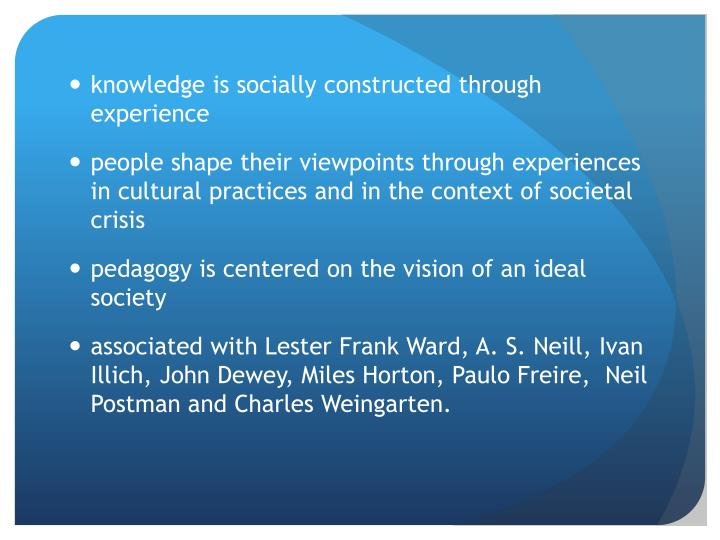knowledge is socially constructed through experience