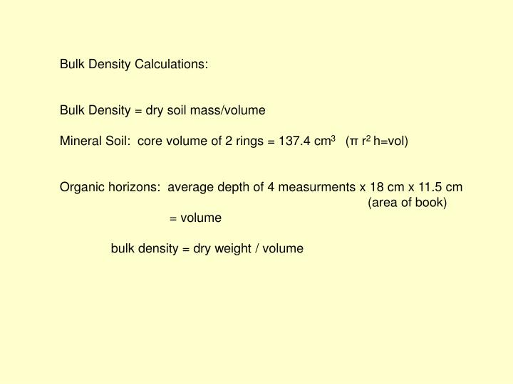 Bulk Density Calculations: