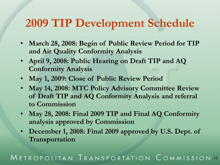 2009 TIP Development Schedule