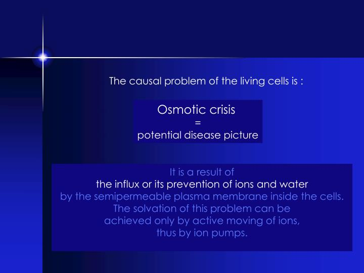 The causal problem of the living cells is :