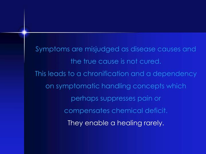 Symptoms are misjudged as disease causes and the true cause is not cured.