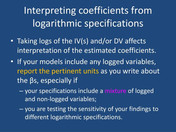 Interpreting coefficients from logarithmic specifications
