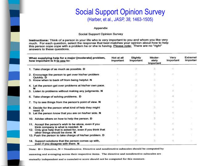 Social Support Opinion Survey