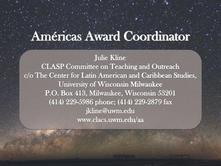 Américas Award Coordinator