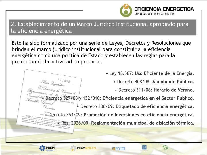 2. Establecimiento de un Marco Jurídico Institucional apropiado para la eficiencia energética