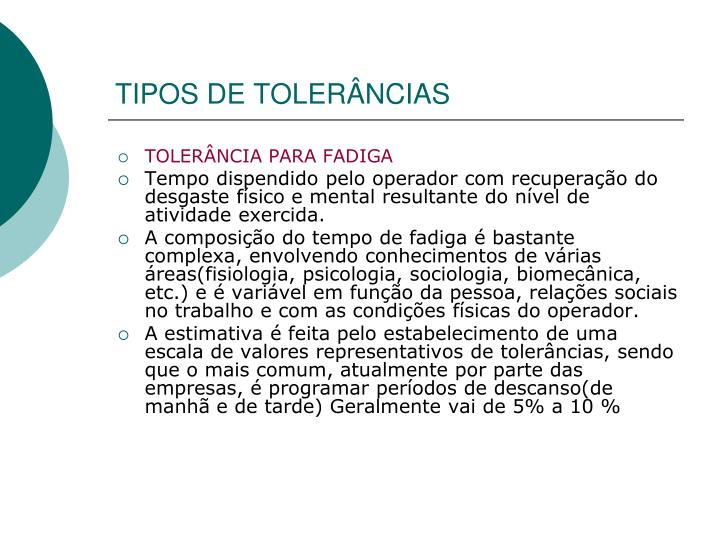 TIPOS DE TOLERÂNCIAS
