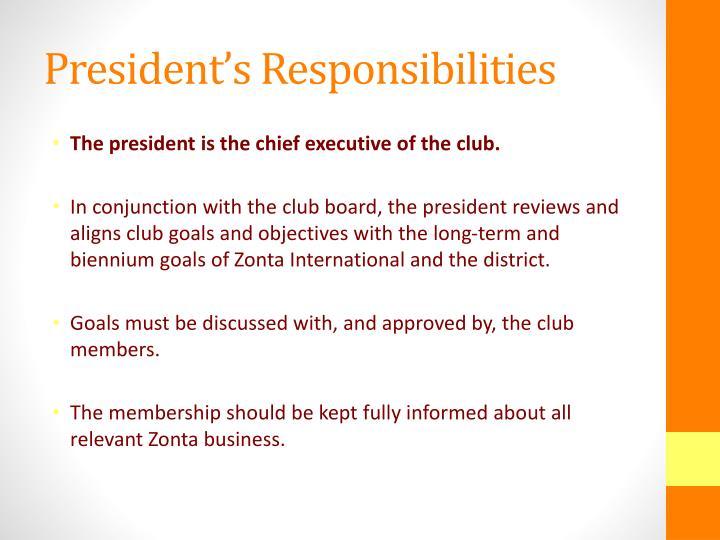 President's Responsibilities