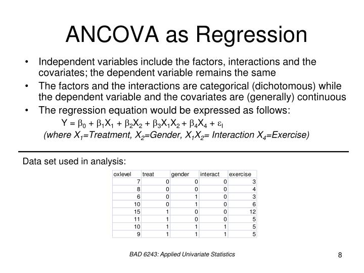 ANCOVA as Regression