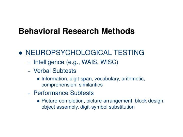 Behavioral Research Methods