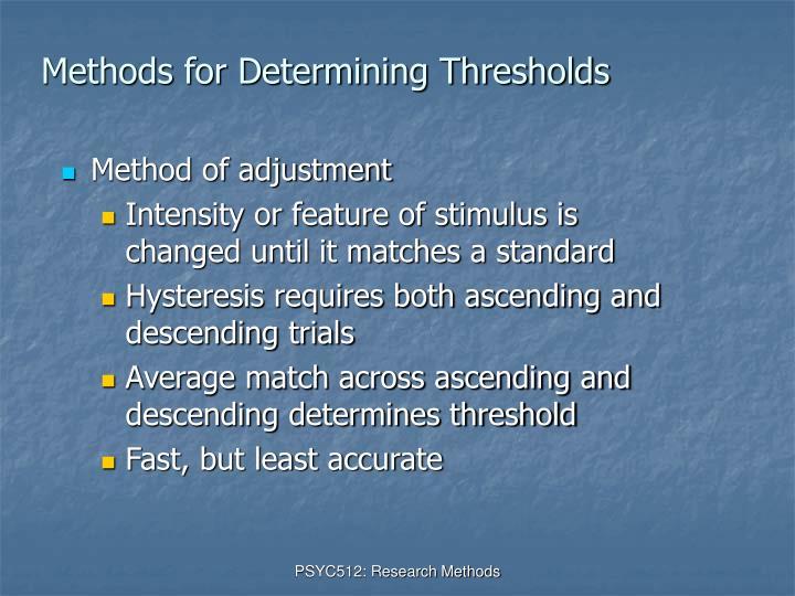 Methods for Determining Thresholds