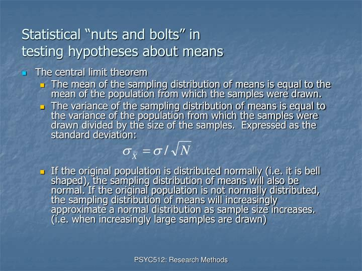 Statistical nuts and bolts in testing hypotheses about means