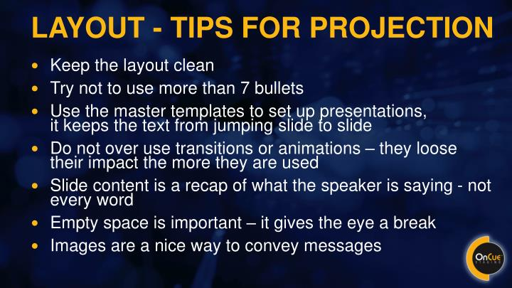 Layout - tips for projection