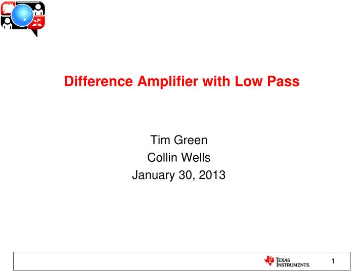 Difference Amplifier with Low Pass