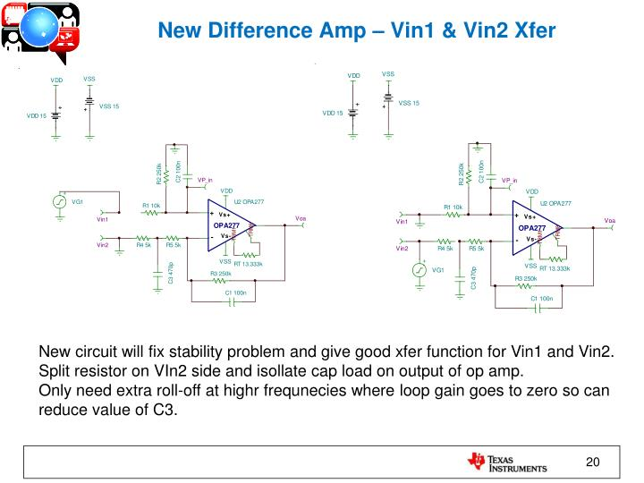 New Difference Amp – Vin1 & Vin2 Xfer
