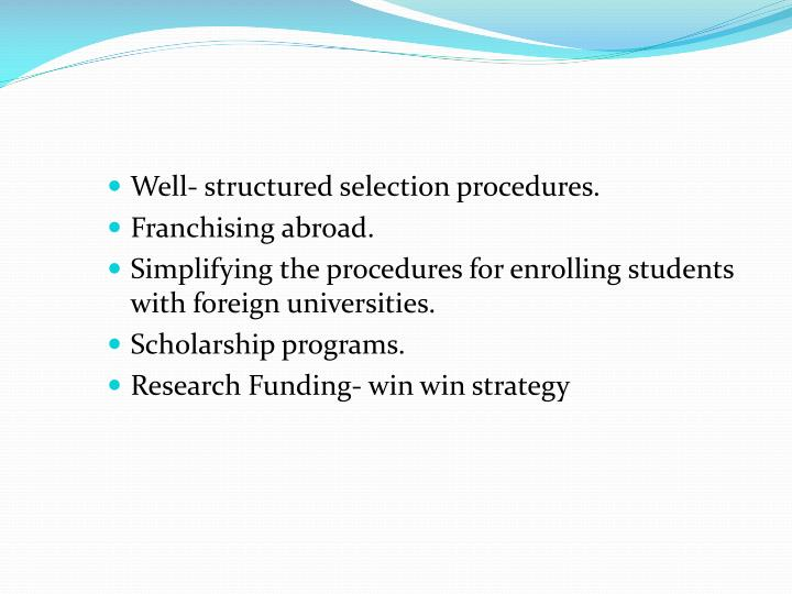 Well- structured selection procedures.
