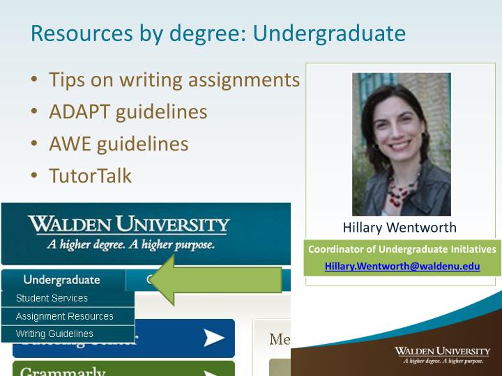 Resources by degree: Undergraduate