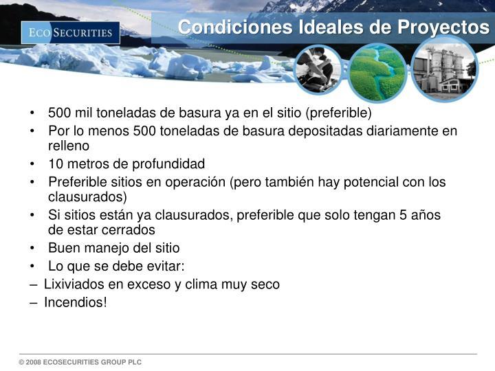 Condiciones Ideales de