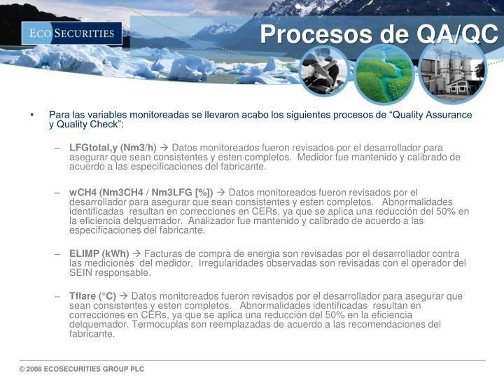 Procesos de QA/QC