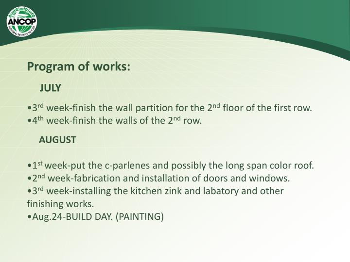 Program of works: