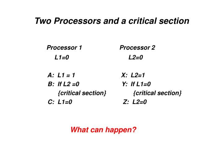 Two Processors and a critical section