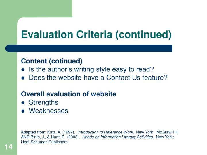 Evaluation Criteria (continued)