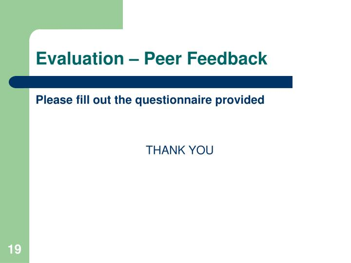 Evaluation – Peer Feedback