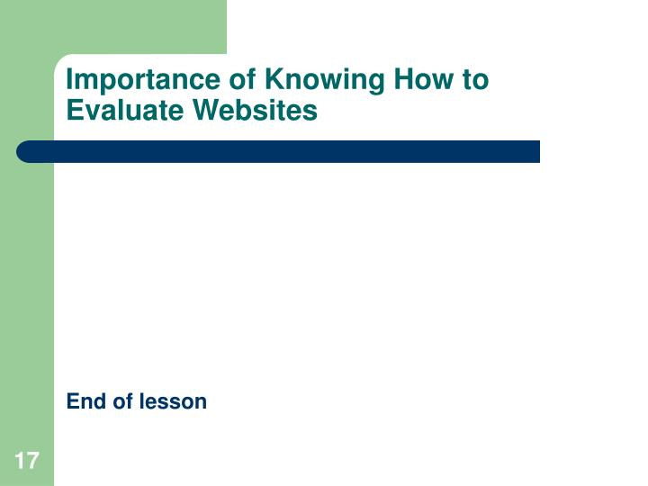 Importance of Knowing How to Evaluate Websites