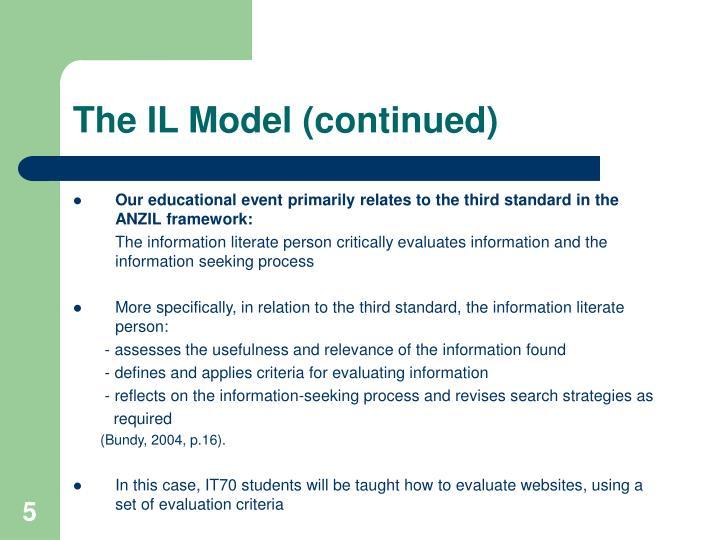 The IL Model (continued)