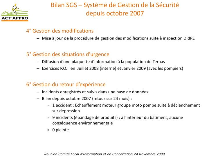 Bilan SGS – Système de Gestion de la Sécurité