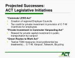projected successes act legislative initiatives
