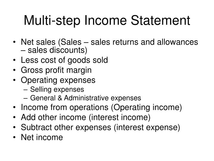 Multi-step Income Statement