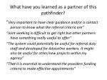 what have you learned as a partner of this pathfinder