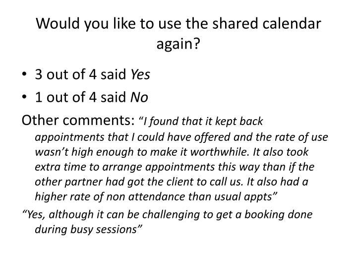 Would you like to use the shared calendar again?