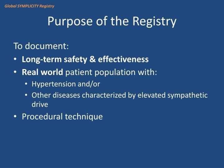 Global SYMPLICITY Registry