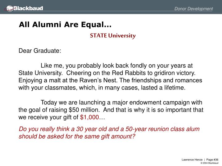 All Alumni Are Equal…