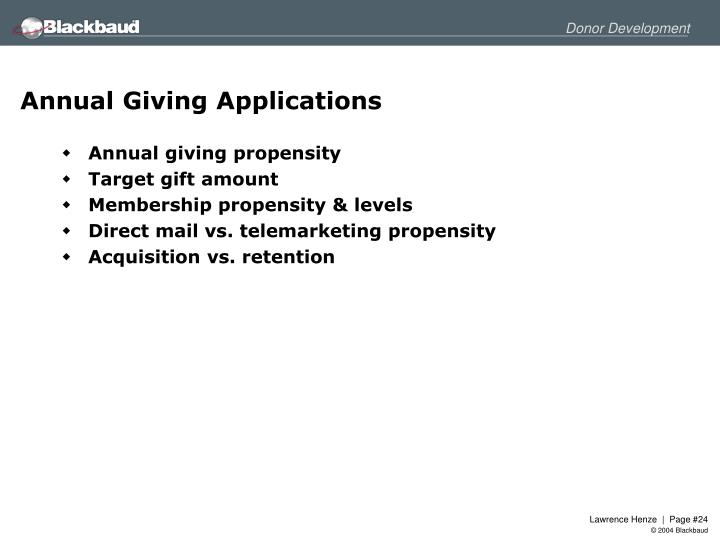 Annual Giving Applications