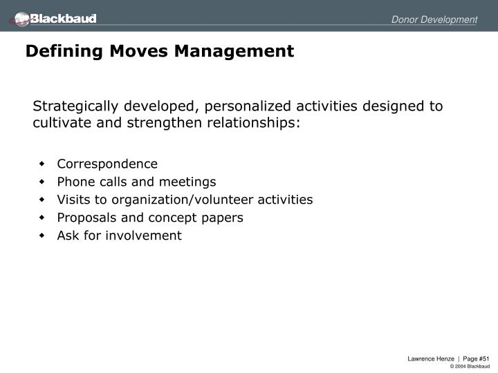 Defining Moves Management