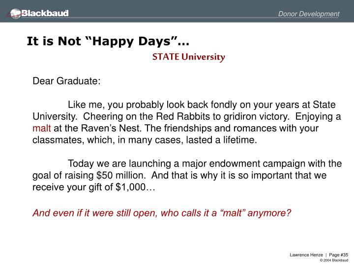 "It is Not ""Happy Days""…"