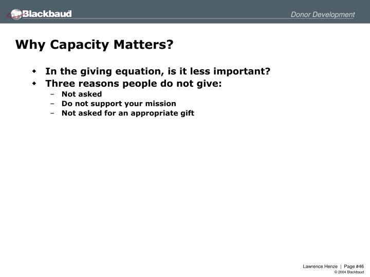 Why Capacity Matters?