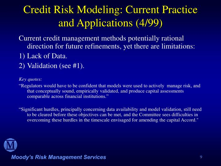 Credit Risk Modeling: Current Practice and Applications (4/99)