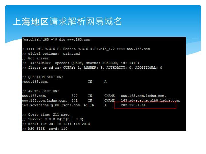 上海地区请求解析网易域名