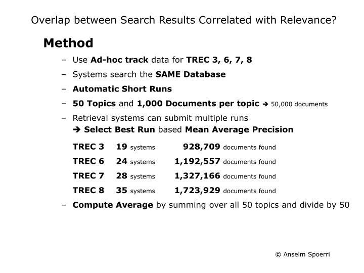 Overlap between Search Results Correlated with Relevance?