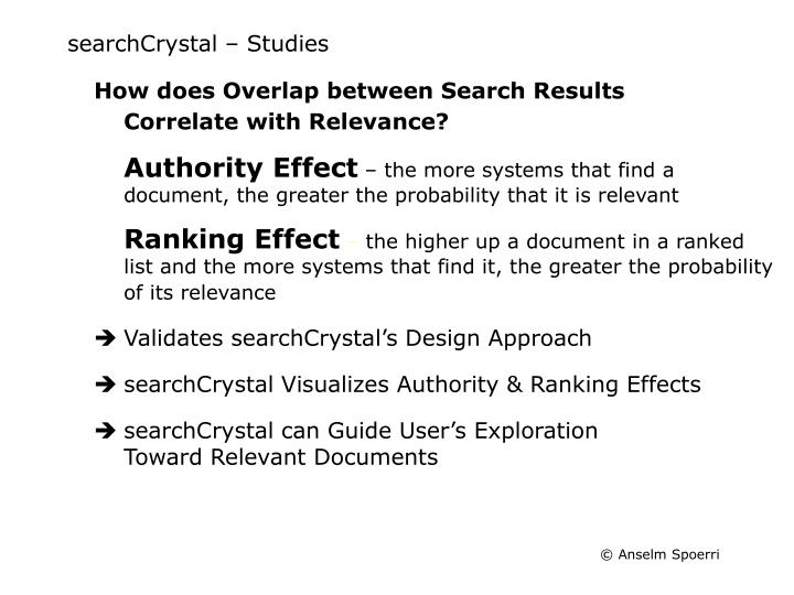 searchCrystal – Studies
