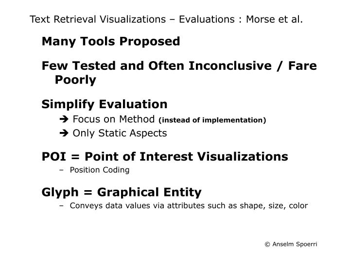 Text retrieval visualizations evaluations morse et al