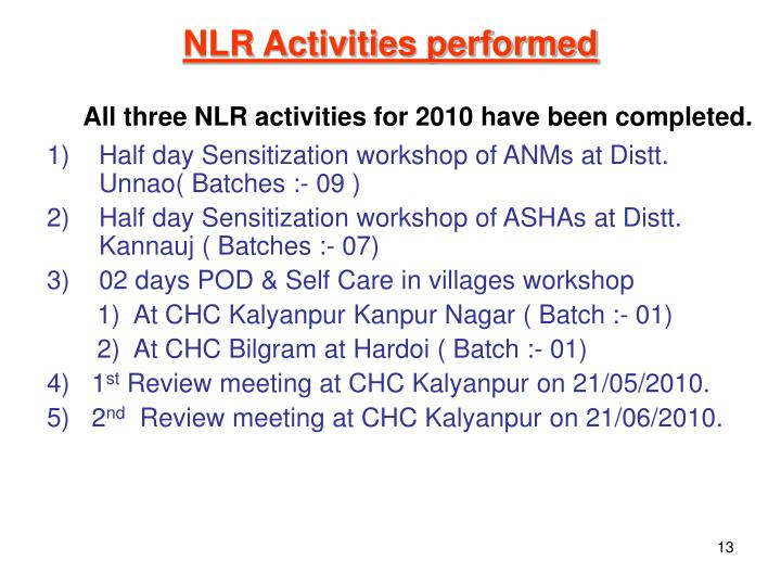 NLR Activities performed