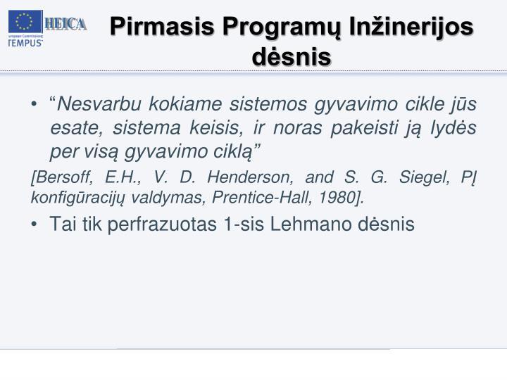 Pirmasis Programų Inžinerijos dėsnis