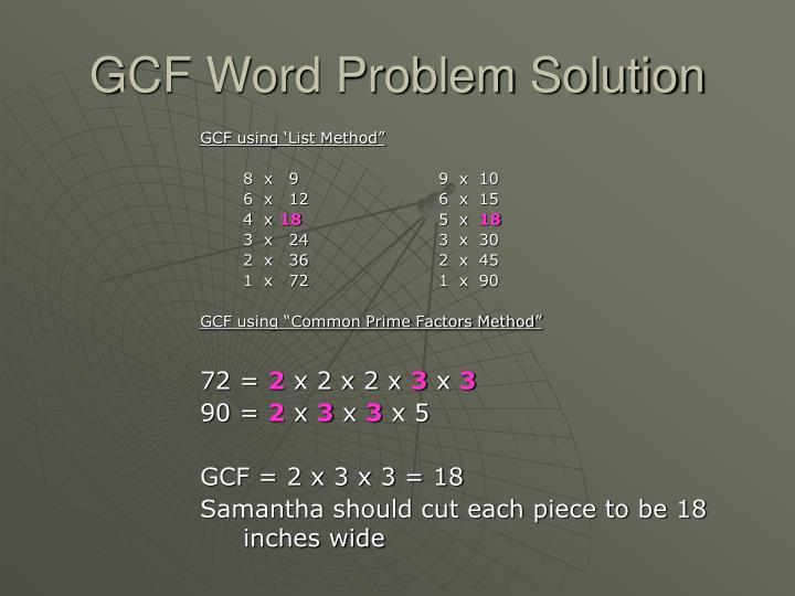 GCF Word Problem Solution