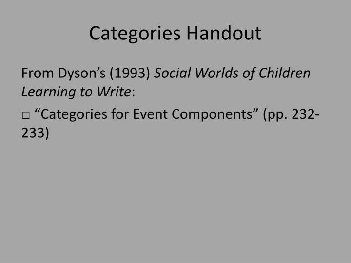 Categories Handout