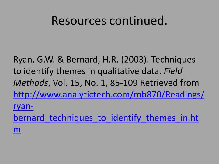 Resources continued.